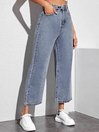 Women Light Wash Cropped Wide Leg Jeans