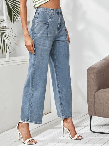 Women Light Wash Fold Pleat Wide Leg Jeans