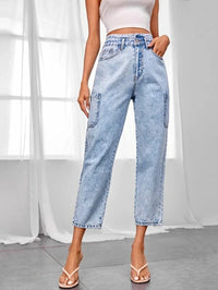 Women Light Wash High Waist Cropped Jeans