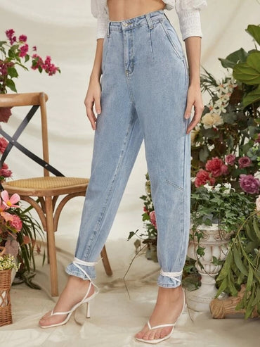 Women Light Wash Jeans Without Knot