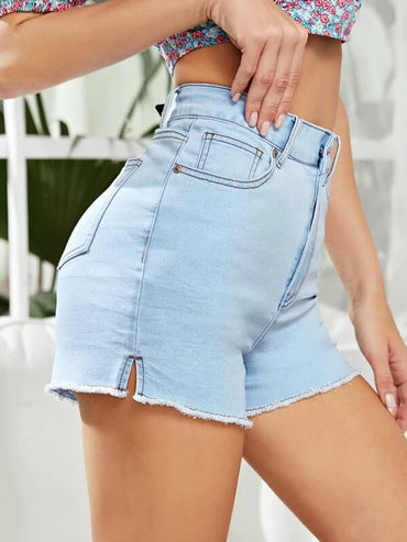 Women Light Wash Raw Hem Denim Shorts