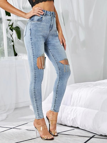 Women Light Wash Rhinestone Fringe Skinny Jeans