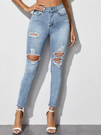 Women Light Wash Ripped Detail Skinny Jeans