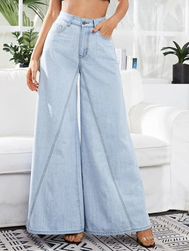 Women Light Wash Wide Leg Jeans