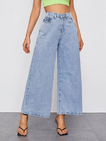 Women Light Wash Wide Leg Jeans Without Belt