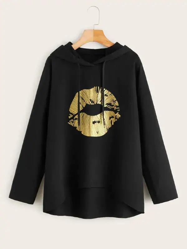 Lip Print Dip Hem Hooded Sweatshirt