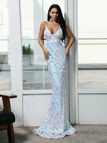 Missord Criss-Cross Sequin Cami Prom Dress
