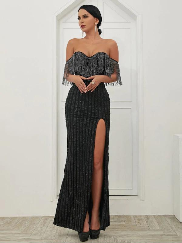 Missord Fringe Trim Split Thigh Sequin Bardot Maxi Dress