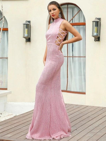 Missord Mock-Neck Criss-Cross Sequin Bodycon Prom Dress