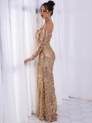 Missord Off Shoulder Zip Back Sequin Maxi Dress