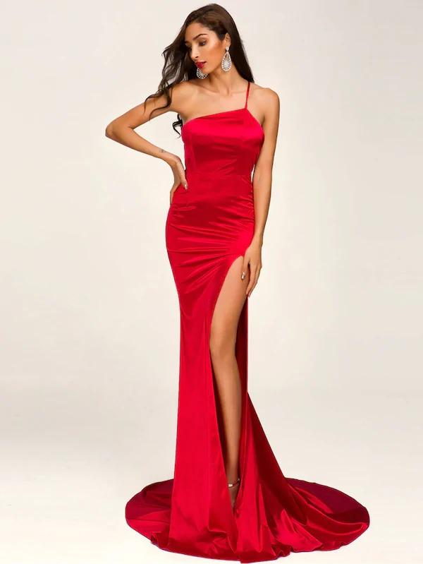 Missord One Shoulder Split Thigh Satin Floor Length Dress