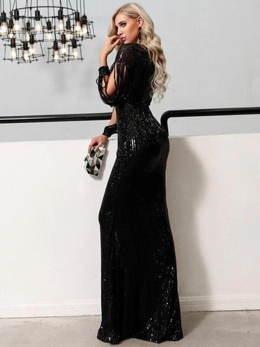 Missord Split Sleeve Sequin Bodycon Maxi Dress
