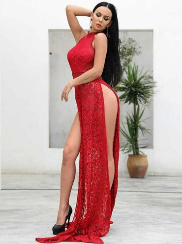 Missord Split Thigh Backless Lace Halter Dress Without Panty
