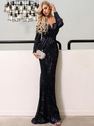 Missord V Bar Off Shoulder Sequin Maxi Dress