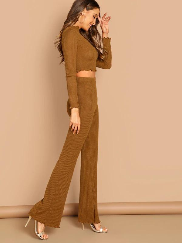 Mock-Neck Crop Fitted Tee & Flare Hem Pants Set