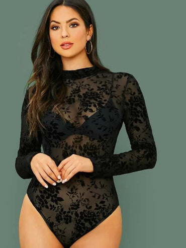 Mock-Neck Flocked Mesh Bodysuit Without Bra