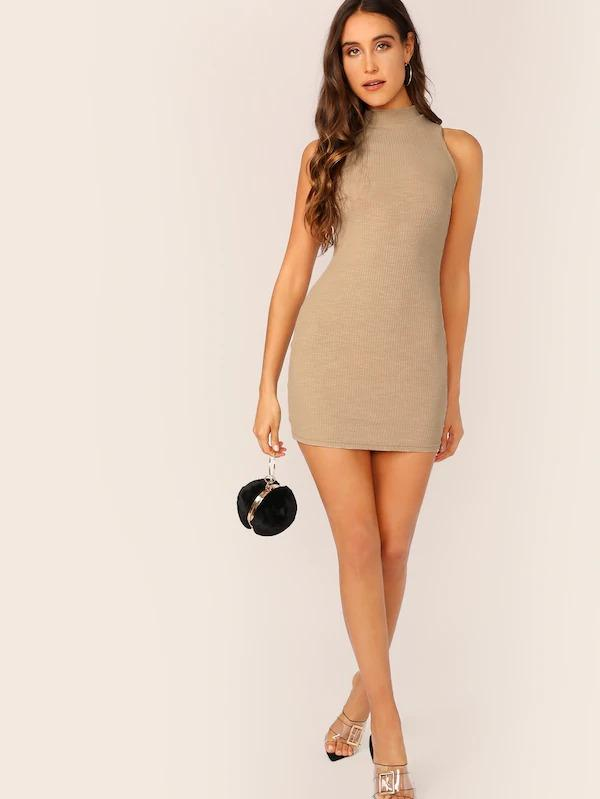 Mock-Neck Rib-Knit Bodycon Dress