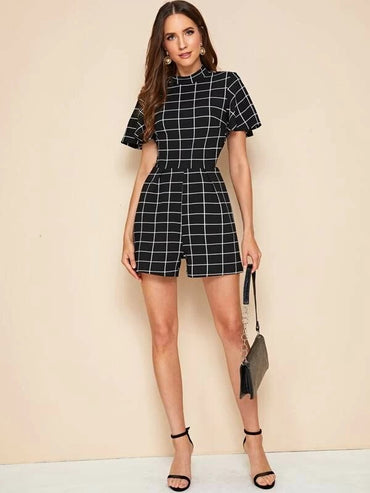 Mock Neck Grid Romper