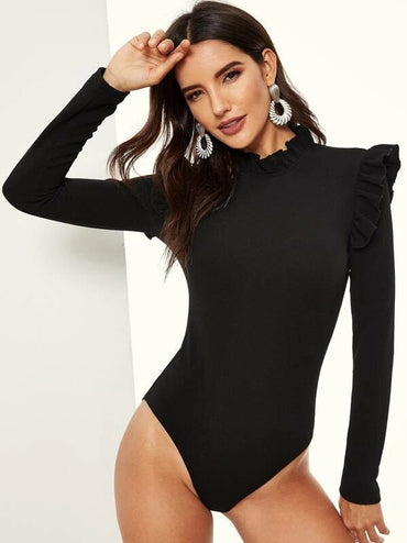 Mock Neck Keyhole Back Ruffle Detail Solid Bodysuit