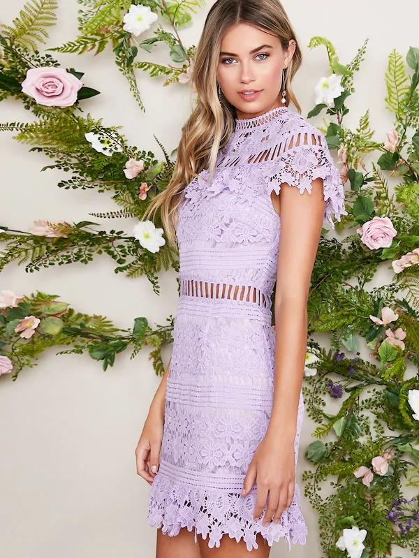 Mock Neck Lace Overlay Dress
