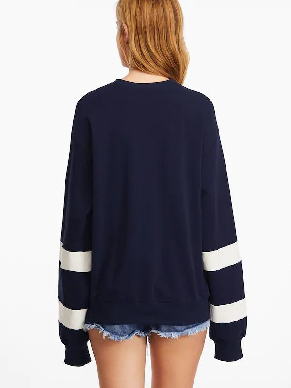 Navy Drop Shoulder Striped Sleeve Sweatshirt