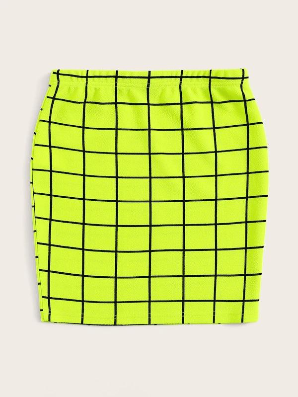 Neon Lime Grid Bodycon Skirt