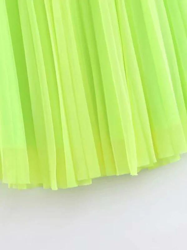 Neon Lime Pleated Skirt