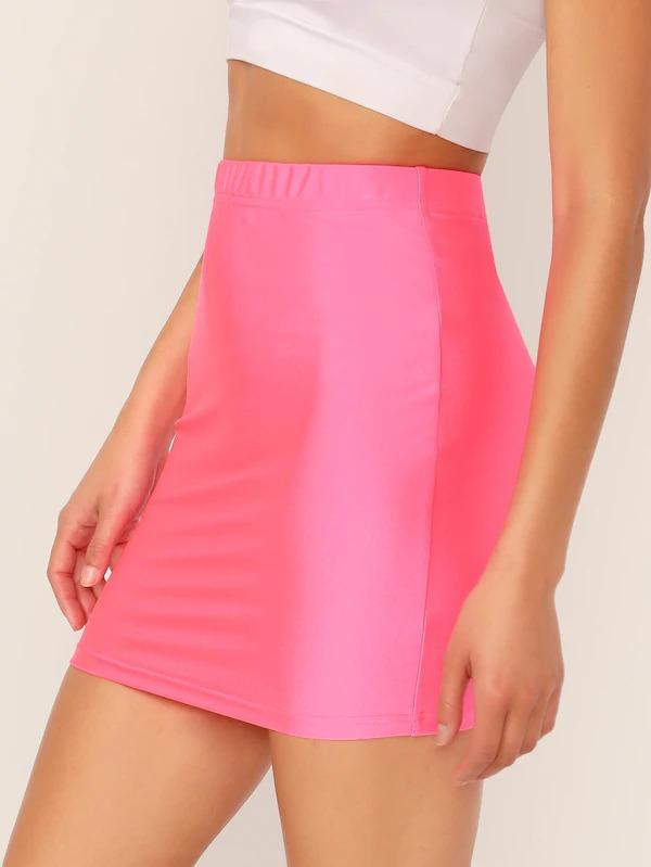 Neon Pink Solid Bodycon Skirt