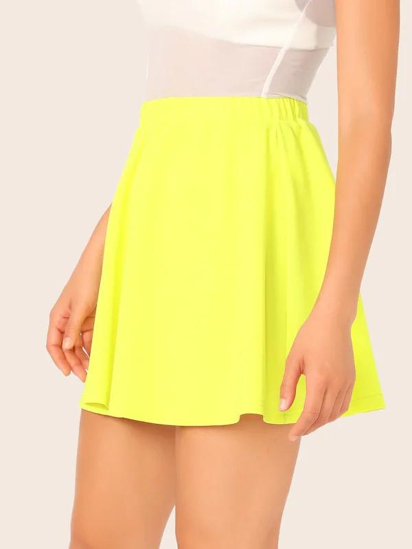 Neon Yellow Skater Skirt