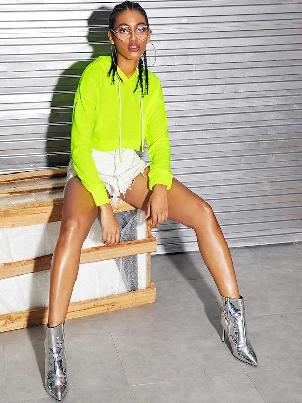 Neon Green Drop Shoulder Drawstring Hoodie