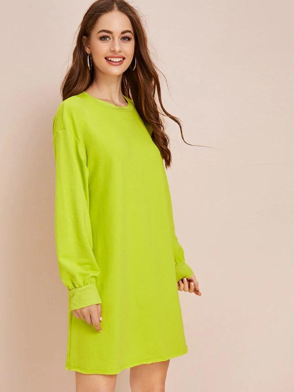 Neon Green Drop Shoulder Sweatshirt Dress