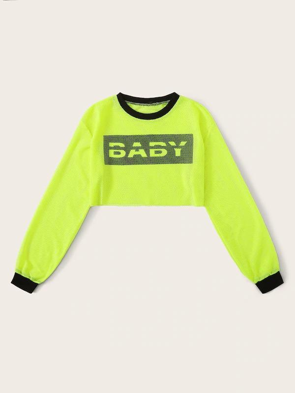 Neon Green Letter Sheer Crop Sweatshirt