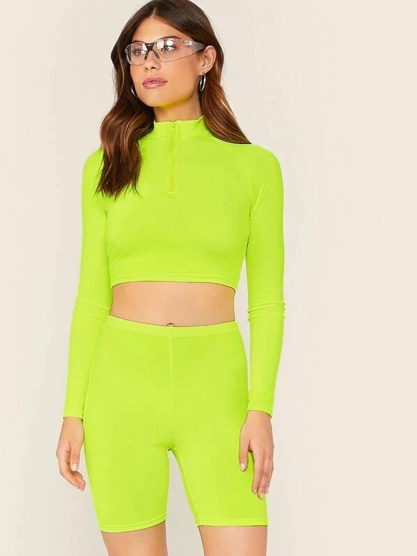 Neon Lime Half Zipper Front Crop Top & Cycling Shorts Set