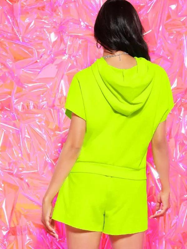 Neon Lime Letter Print Hoodie Without Mesh Tee & Sweat Shorts Set