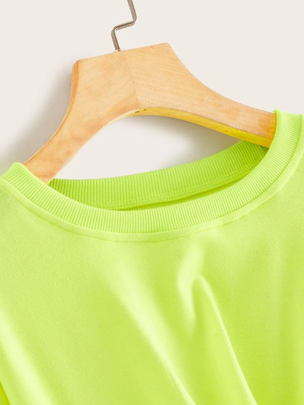 Neon Lime Twist Hem Sweatshirt