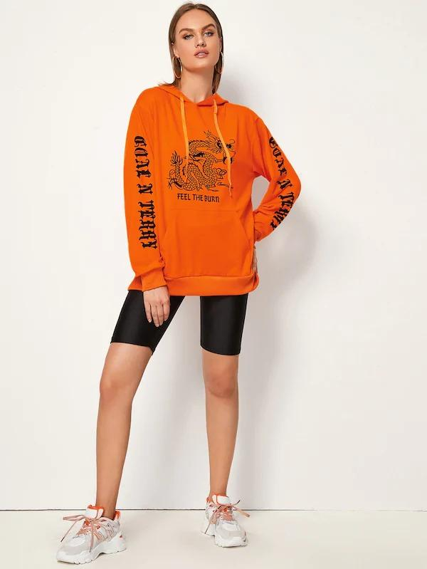 Neon Orange Dragon & Letter Print Hoodie