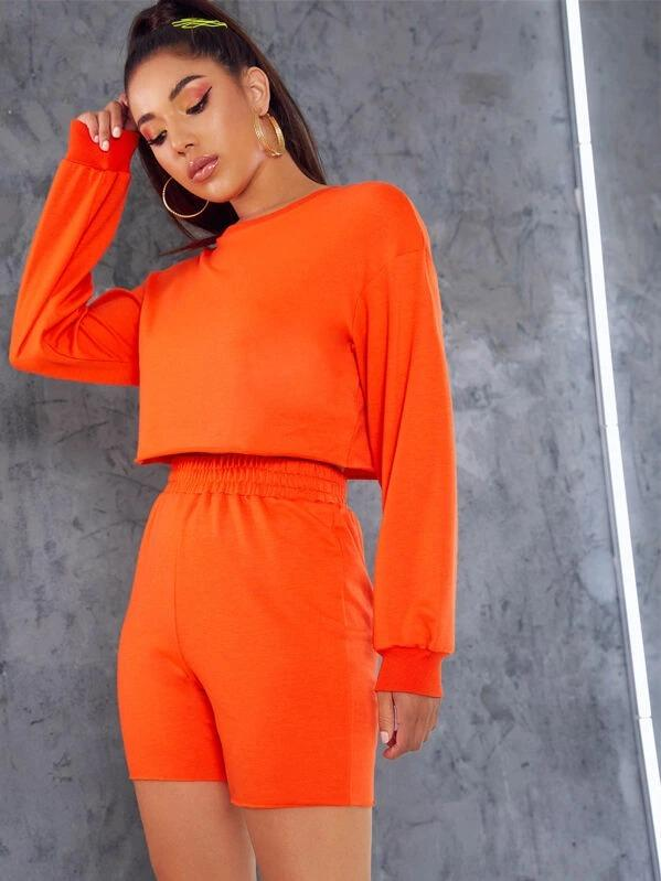 Neon Orange Drop Shoulder Pullover & Cycling Shorts Set