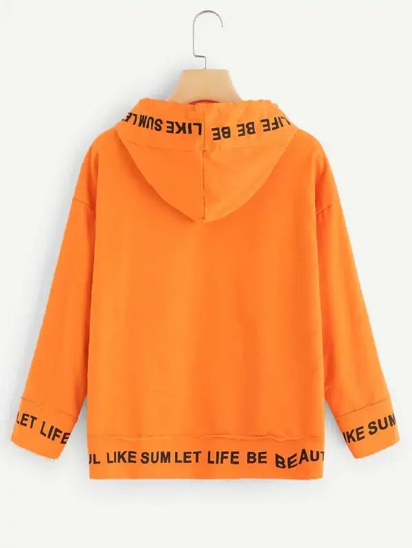 Neon Orange Letter Print Drawstring Detail Hooded Sweatshirt