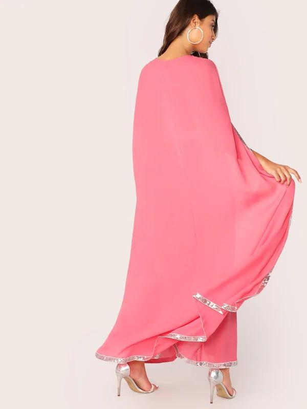 Neon Pink Contrast Sequin Split Hem Cape Dress
