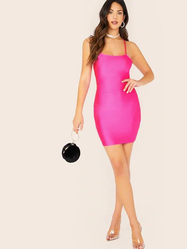 Neon Pink Criss-Cross Back Bodycon Cami Dress