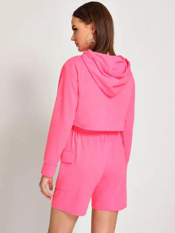 Neon Pink Drawstring Hooded Crop Sweatshirt With Shorts