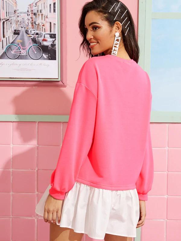 Neon Pink Drop Shoulder Contrast Flippy Hem Sweatshirt Dress