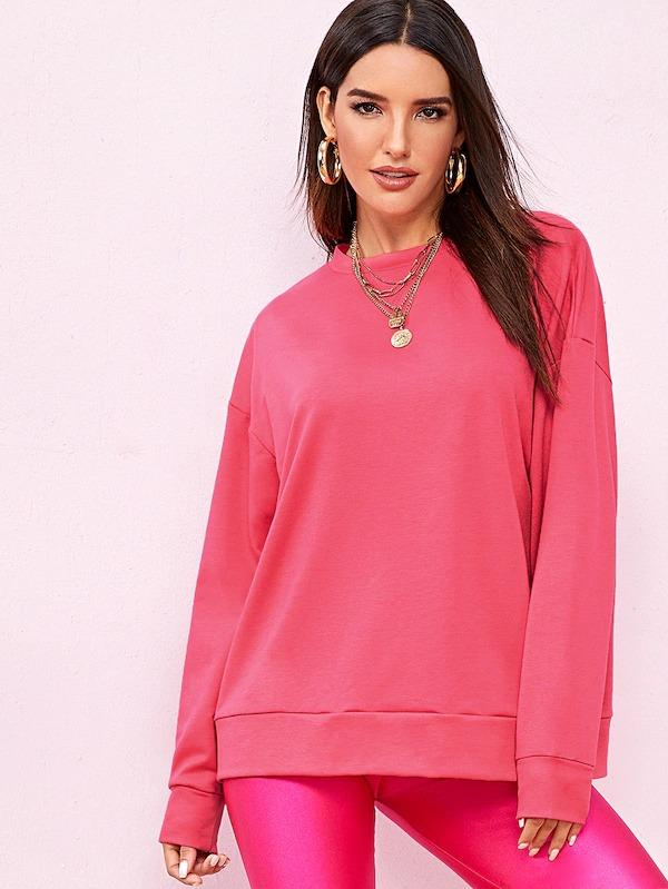 Neon Pink Drop Shoulder Pullover
