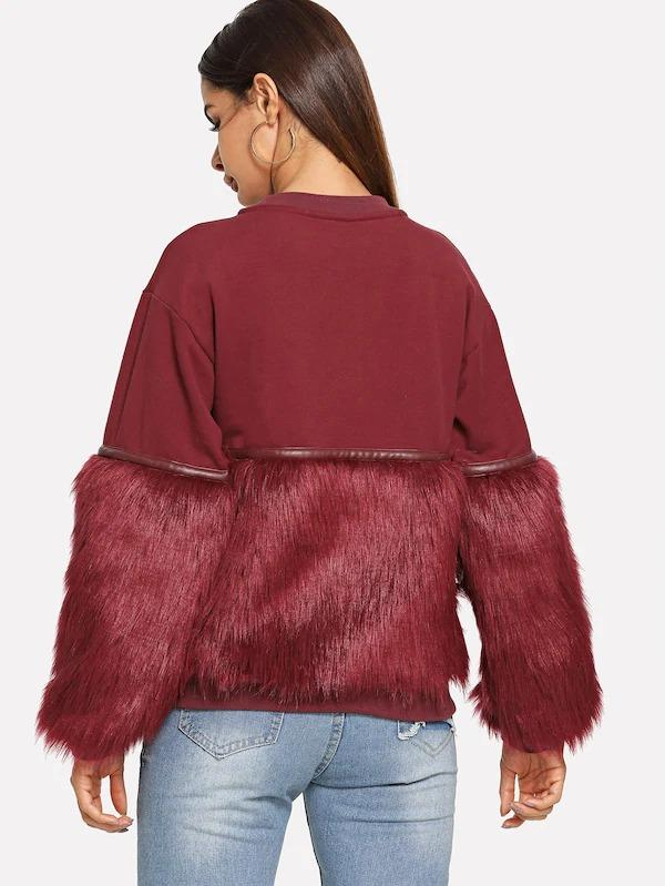 Neon Pink Gem Beading Faux Fur Panel Sweatshirt