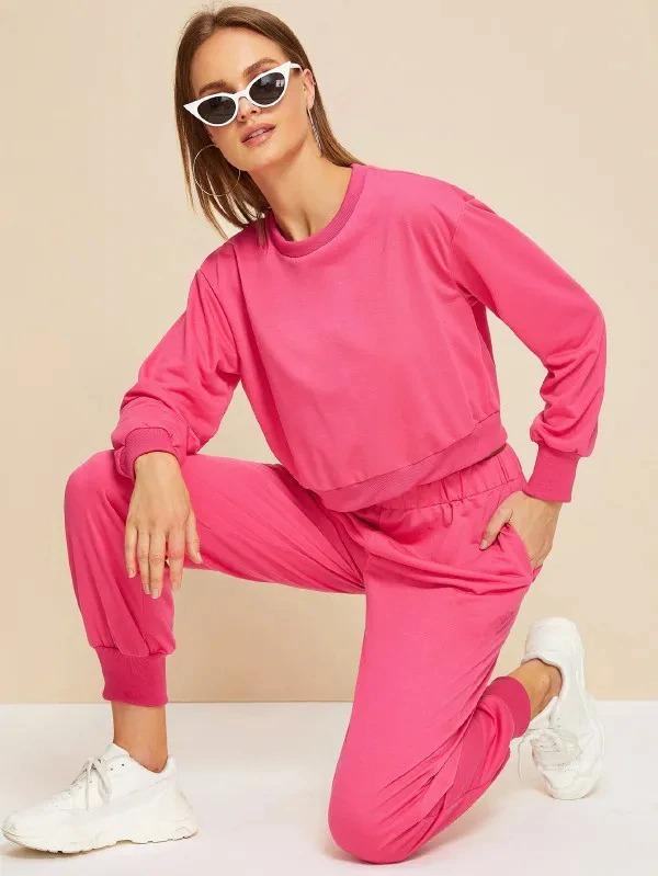 Neon Pink Round Neck Sweatshirt With Sweatpants