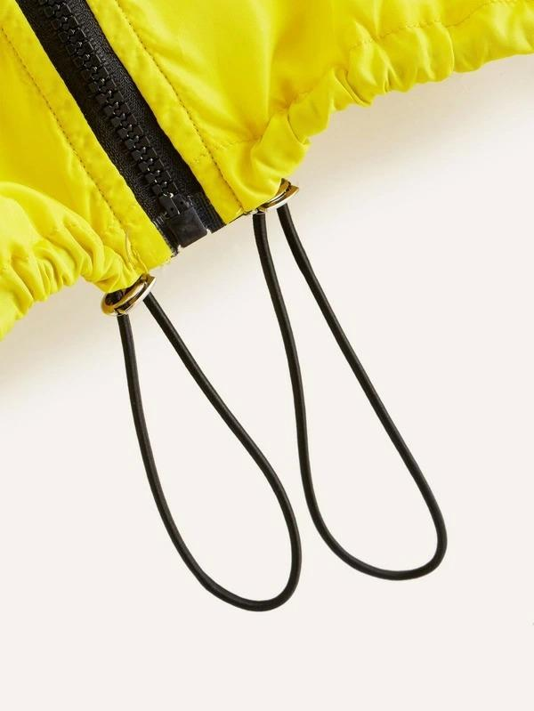 Neon Yellow Drawstring Hem Zip-Up Windbreaker Jacket