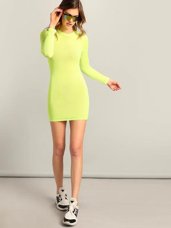 Neon Yellow Form Fitting Dress