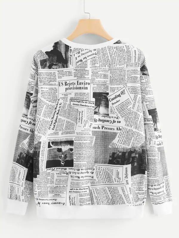 Newspaper Print Sweatshirt