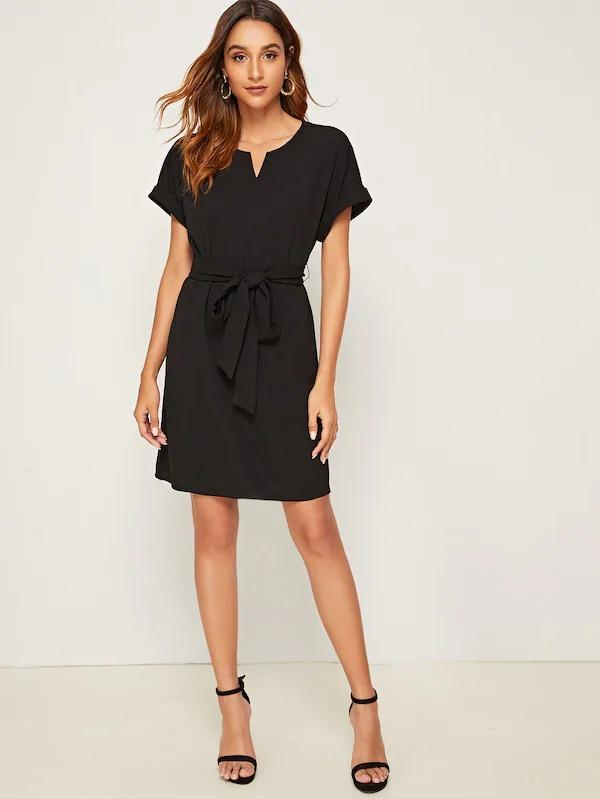 Notch Neck Rolled Sleeve Belted Dress