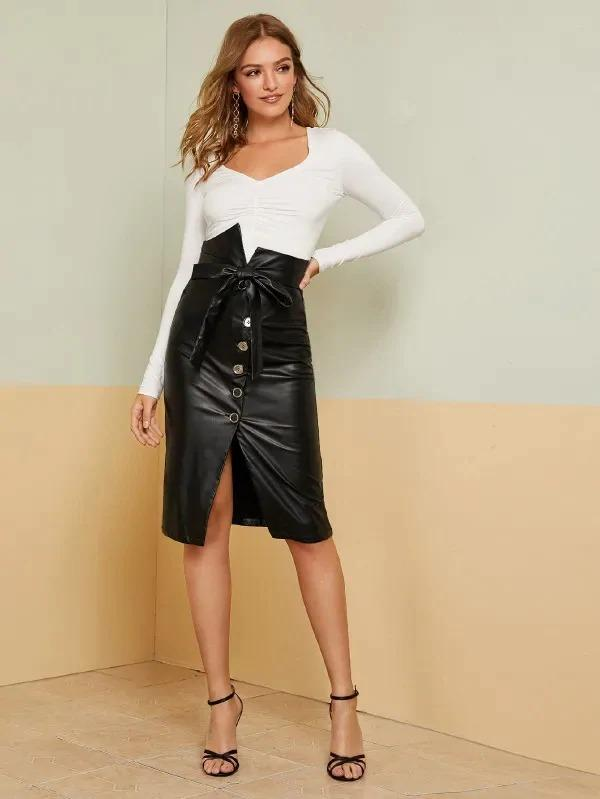 Notched Waist Button Fly Belted PU Skirt